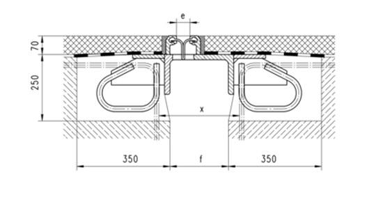 Příčný řez mostním závěrem XW1